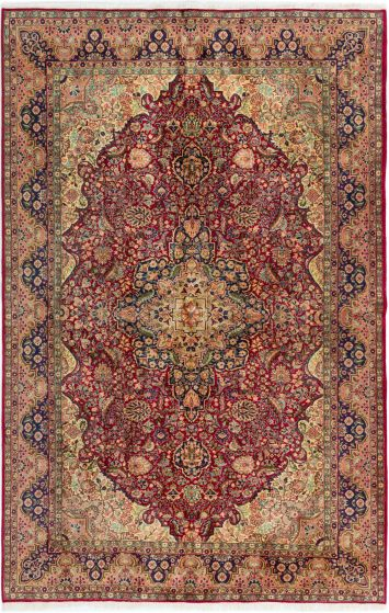 Bordered  Traditional Red Area rug 6x9 Turkish Hand-knotted 281023