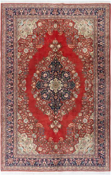 Bordered  Traditional Red Area rug 8x10 Turkish Hand-knotted 281059