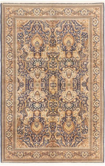 Bordered  Transitional Blue Area rug Unique Turkish Hand-knotted 281064