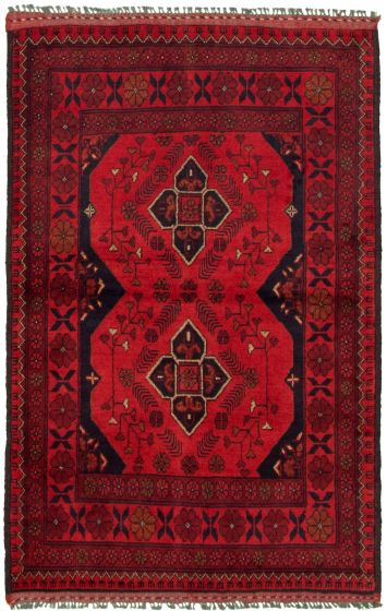 Bordered  Tribal Red Area rug 3x5 Afghan Hand-knotted 330289