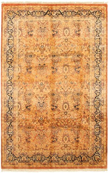 Bordered  Traditional Pink Area rug 6x9 Pakistani Hand-knotted 330502