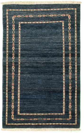 Bordered  Transitional Blue Area rug 3x5 Pakistani Hand-knotted 331271