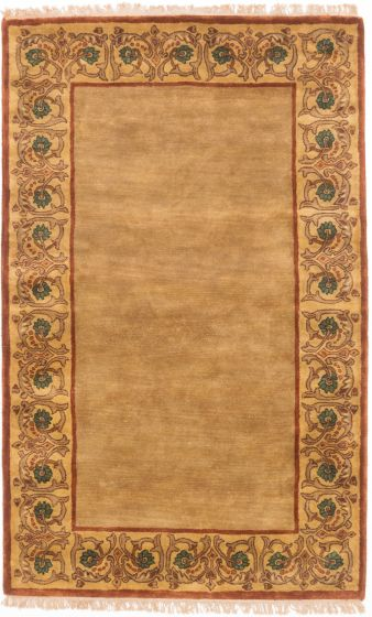 Transitional Brown Area rug 5x8 Indian Hand Tufted 199442