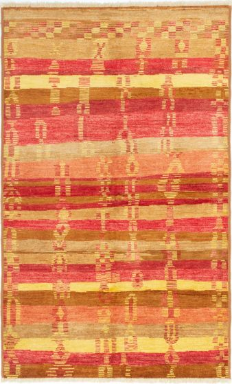 Stripes  Transitional Red Area rug 6x9 Indian Hand-knotted 280566