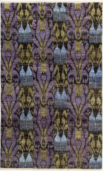 Casual  Transitional Purple Area rug 5x8 Indian Hand-knotted 280697