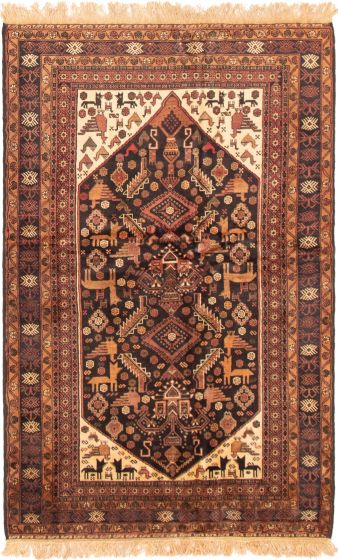 Bordered  Tribal Black Area rug 4x6 Afghan Hand-knotted 298174