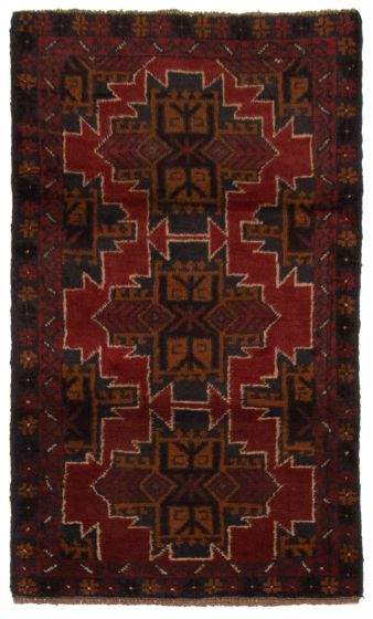 Bordered  Tribal Red Area rug 3x5 Afghan Hand-knotted 357161
