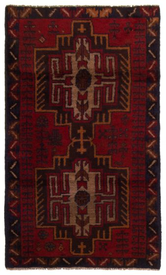 Bordered  Tribal Red Area rug 3x5 Afghan Hand-knotted 357162