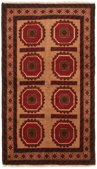 Bordered  Tribal Brown Area rug 3x5 Afghan Hand-knotted 334939