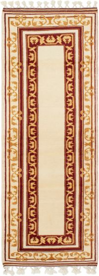 Bordered  Traditional Ivory Runner rug 7-ft-runner Turkish Hand-knotted 293683