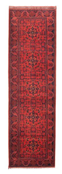 Bordered  Traditional Red Runner rug 10-ft-runner Afghan Hand-knotted 342291
