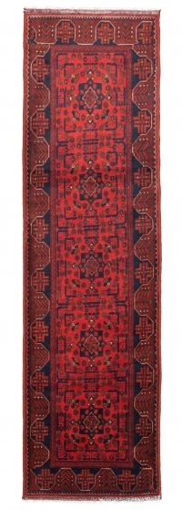 Bordered  Traditional Red Runner rug 10-ft-runner Afghan Hand-knotted 342347