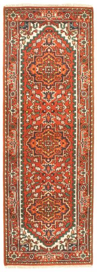 Bordered  Traditional Brown Runner rug 8-ft-runner Indian Hand-knotted 344589