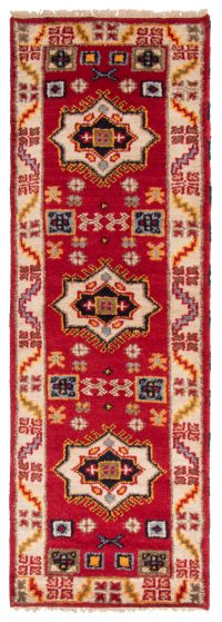 Bordered  Traditional Red Runner rug 7-ft-runner Indian Hand-knotted 363174