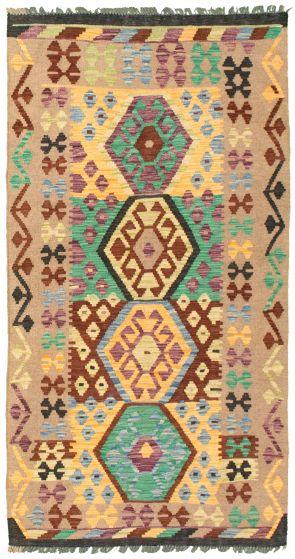 Bordered  Geometric Brown Area rug 3x5 Turkish Flat-weave 329960