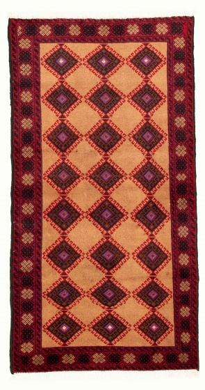 Bordered  Tribal Brown Area rug 3x5 Afghan Hand-knotted 334854