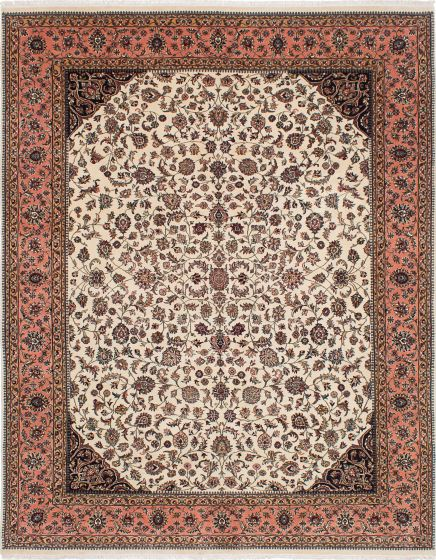 Traditional Ivory Area rug 6x9 Indian Hand-knotted 224116