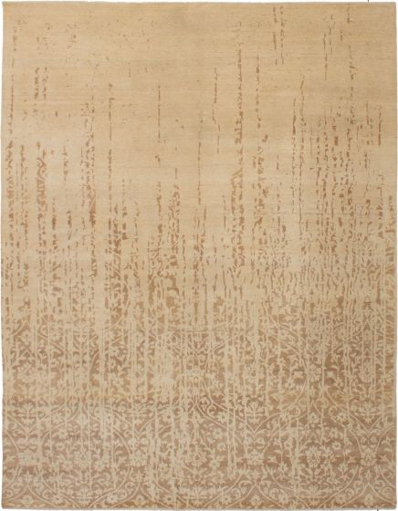 Casual  Contemporary Ivory Area rug 6x9 Indian Hand-knotted 272217