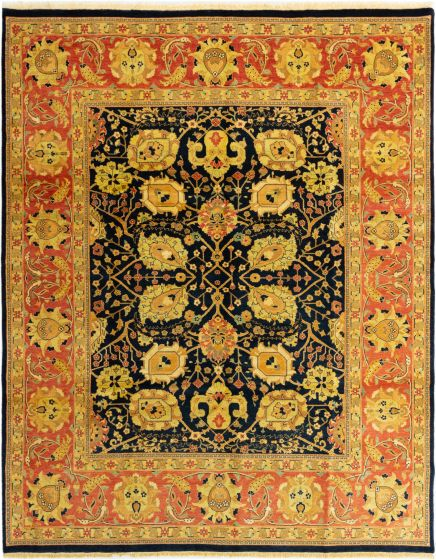 Bordered  Traditional Blue Area rug 6x9 Afghan Hand-knotted 280379