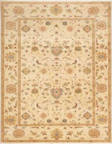 Bordered  Transitional Ivory Area rug 9x12 Turkish Hand-knotted 280877