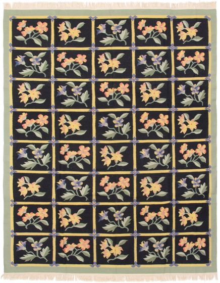 Bordered  Transitional Black Area rug 6x9 Chinese Flat-weave 286682