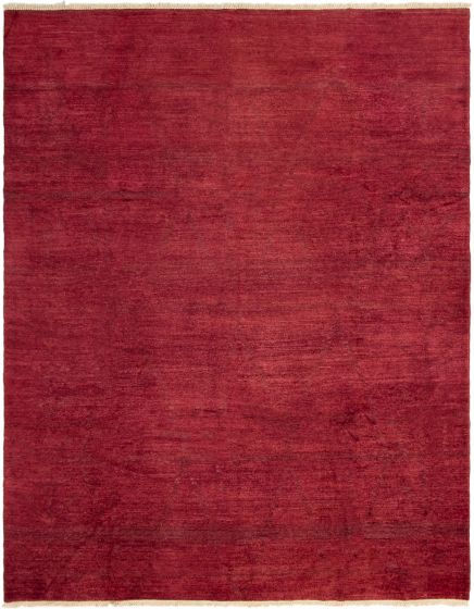 Contemporary  Transitional Red Area rug 9x12 Indian Hand-knotted 294099