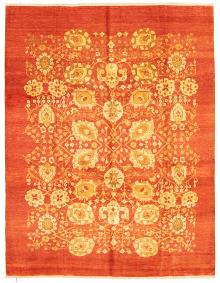 Bordered  Traditional Brown Area rug 6x9 Pakistani Hand-knotted 331286