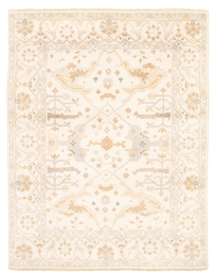 Bordered  Traditional Ivory Area rug 6x9 Indian Hand-knotted 344882