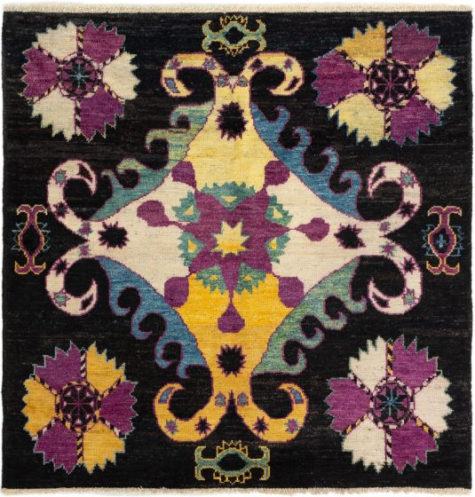Floral  Transitional Black Area rug Square Indian Hand-knotted 280280