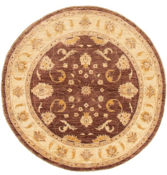 Bordered  Traditional Brown Area rug Round Pakistani Hand-knotted 292880