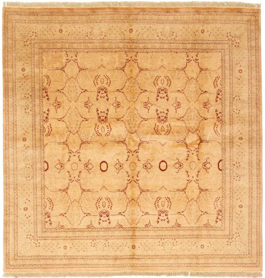 Bordered  Traditional Ivory Area rug Square Pakistani Hand-knotted 330541