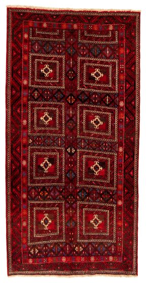 Bordered  Tribal Red Area rug Unique Turkish Hand-knotted 322309