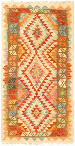 Bordered  Geometric Ivory Area rug 3x5 Turkish Flat-weave 329992