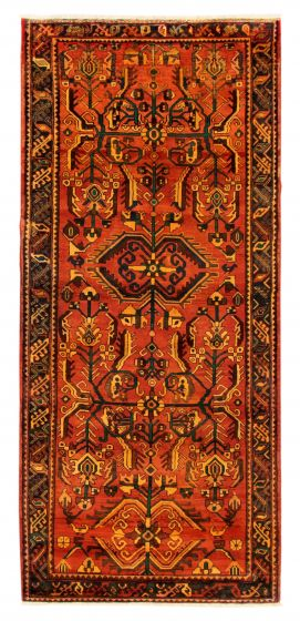 Bordered  Tribal Brown Area rug Unique Turkish Hand-knotted 352596