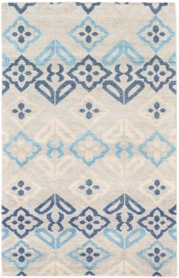 Transitional Grey Area rug 5x8 Indian Hand-knotted 193748