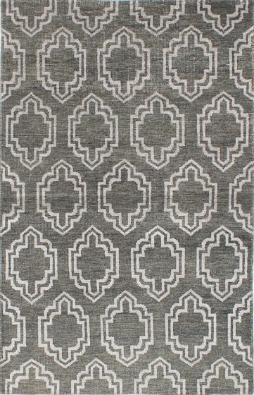 Transitional Green Area rug 5x8 Indian Hand-knotted 221884