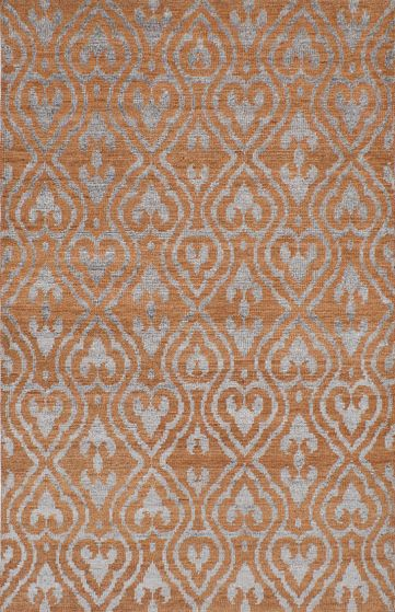 Transitional Orange Area rug 5x8 Indian Hand-knotted 221974