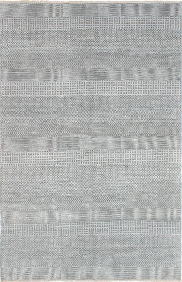 Transitional Grey Area rug 5x8 Indian Hand-knotted 223738