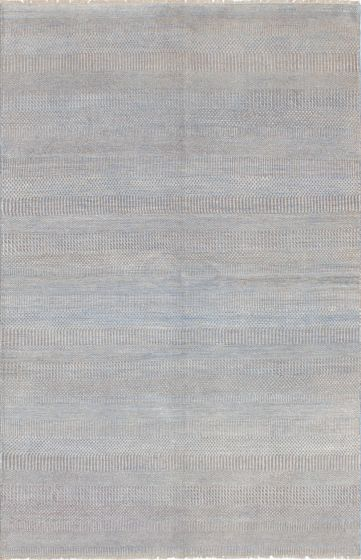 Transitional Blue Area rug 5x8 Indian Hand-knotted 223769