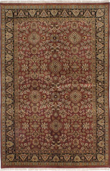 Traditional Red Area rug 5x8 Indian Hand-knotted 227973