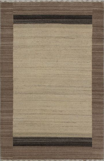 Contemporary  Solid Yellow Area rug 3x5 Indian Hand-knotted 279663
