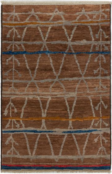 Casual  Transitional Brown Area rug 3x5 Indian Hand-knotted 279984