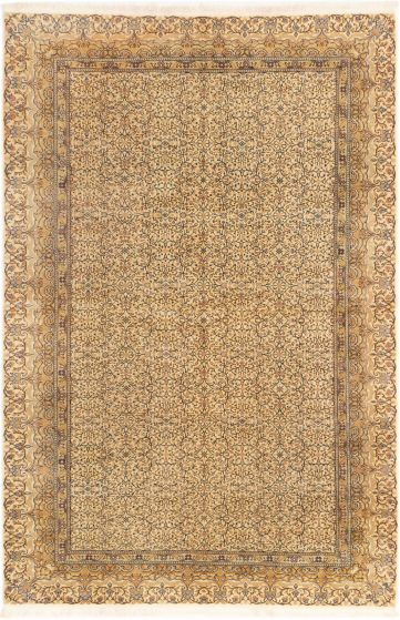 Bordered  Floral Ivory Area rug 6x9 Turkish Hand-knotted 280907