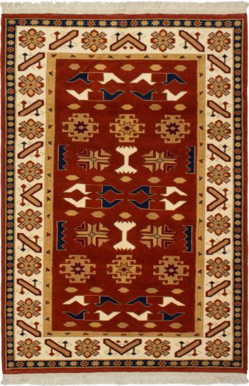 Bordered  Traditional Brown Area rug 3x5 Turkish Hand-knotted 293795