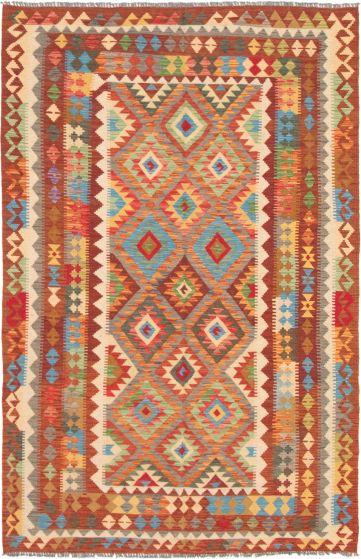 Bordered  Geometric Red Area rug 5x8 Turkish Flat-weave 297677