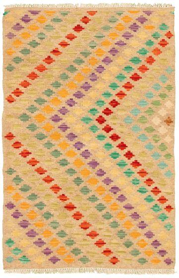 Flat-weaves & Kilims  Geometric Brown Area rug 3x5 Turkish Flat-weave 330190
