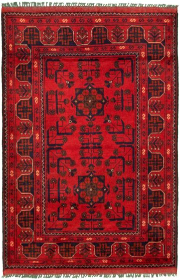 Bordered  Tribal Red Area rug 3x5 Afghan Hand-knotted 330273