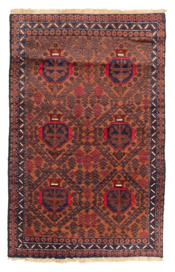 Bordered  Tribal Brown Area rug 3x5 Afghan Hand-knotted 335316