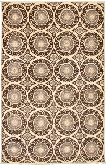 Casual  Transitional Brown Area rug 6x9 Pakistani Hand-knotted 339012