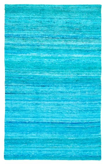 Flat-weaves & Kilims  Transitional Blue Area rug 5x8 Indian Flat-weave 344454